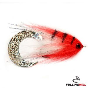 Mosca Da Luccio Wiggle Tail White & Red 6/0 - Fulling Mill